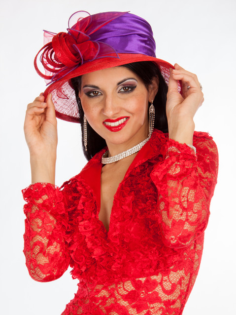 Photo of woman in red lace dress and red hat - Medford photographer John Neilson