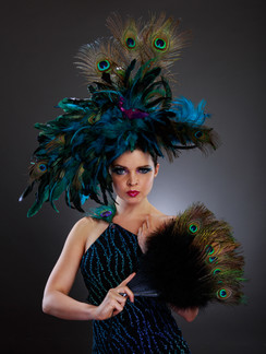 Photo of woman in peacock feather costume - Medford photographer John Neilson