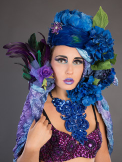Photo of woman with blue and purple flowers - Medford photographer John Neilson
