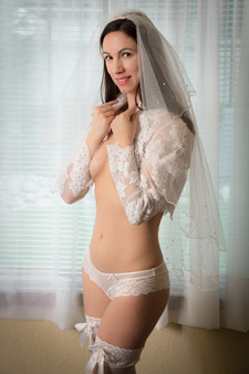 Bridal boudoir with veil and lace