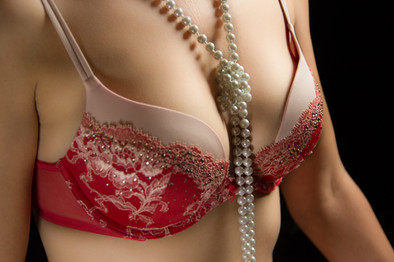 Red floral bra with pearls