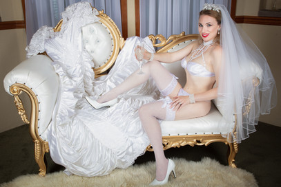 Bridal lingerie with wedding dress