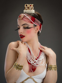 Photo of woman in white gold and red costume - Medford photographer John Neilson