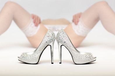 White bridal shoes with lingerie