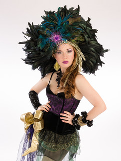 Photo of woman in feather costume - Medford photographer John Neilson