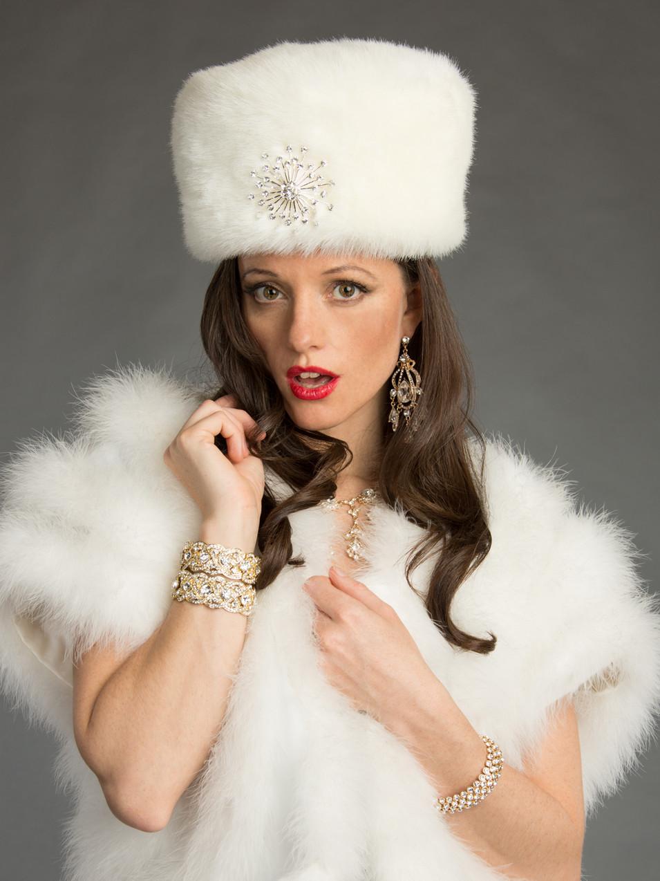 Creative portrait of brunette woman in white fur - Medford photographer, John Neilson