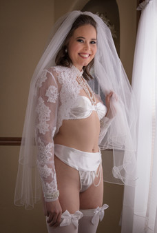 Bridal lingerie with lace shawl