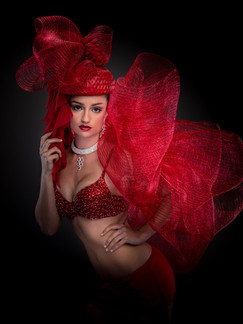 Photo of woman in red bra and costume - Medford photographer John Neilson