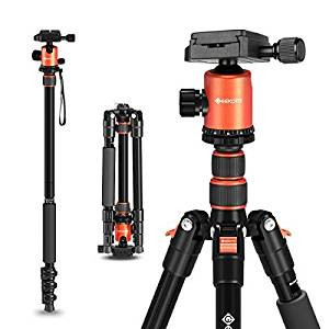 "GEEKOTO 58"" Ultra Compact Lightweight Aluminum Tripod with 360° Panorama Ball Head for DSLR, Monopod"