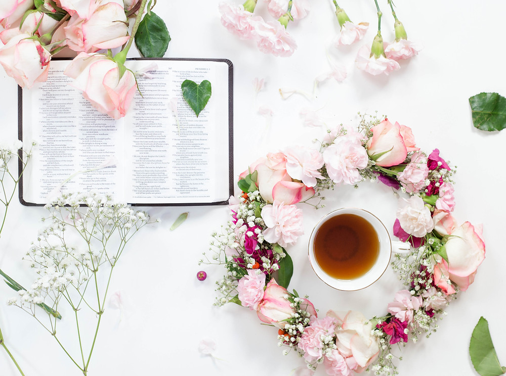 bible flowers flatlay