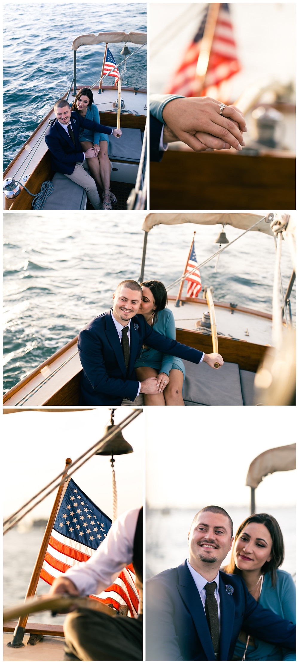 Newport Harbor Sail Boat Intimate Engagement Session