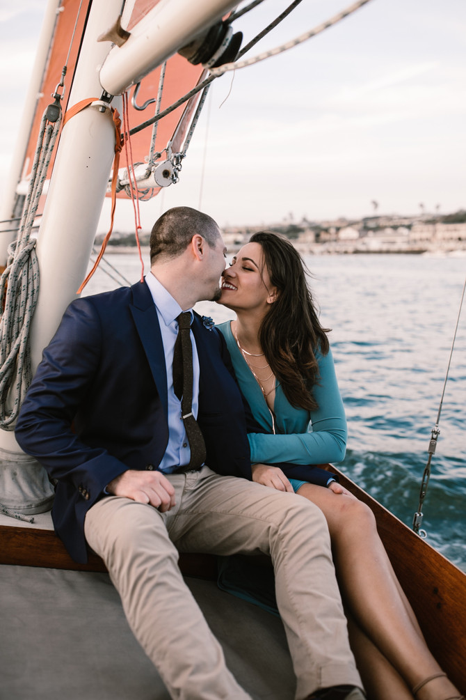 Newport Harbor Sail Boat Intimate Engagement Session Heather + Isaac