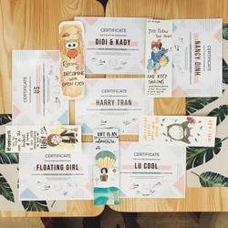 Certificates from Lu, handmade bookmarks from Ngọc, quà Noel chưa kịp vô hình from Nancy