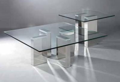 طاولة مكاتب ستانلس ستيل و زجاج