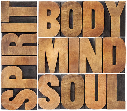 body, mind, soul and spirit word abstrac