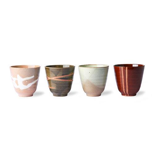 kyoto ceramics: japanese yunomi mugs (set of 4)