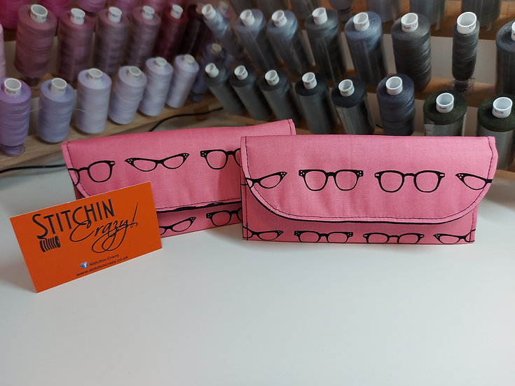 Pink and Black Glasses Case