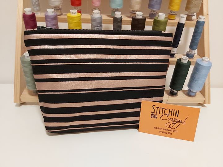 Rose Gold Stripe Make Up Bag