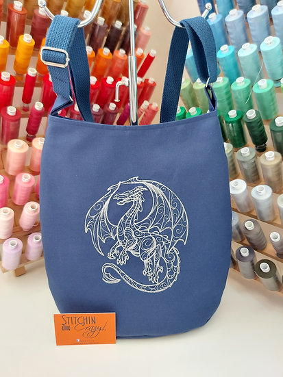 Grey Dragon Crossbody Bag