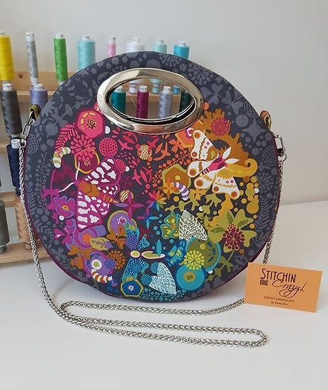 Round Multi Coloured Butterfly Bag