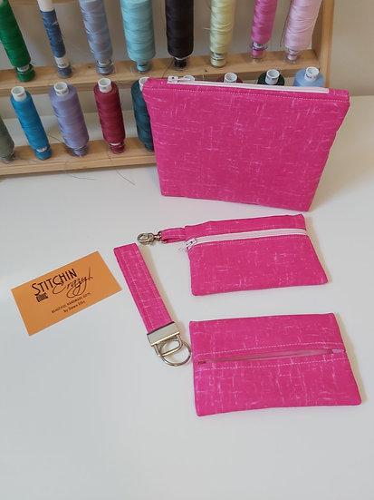 4 Piece Handbag Accessory Set (Pink)