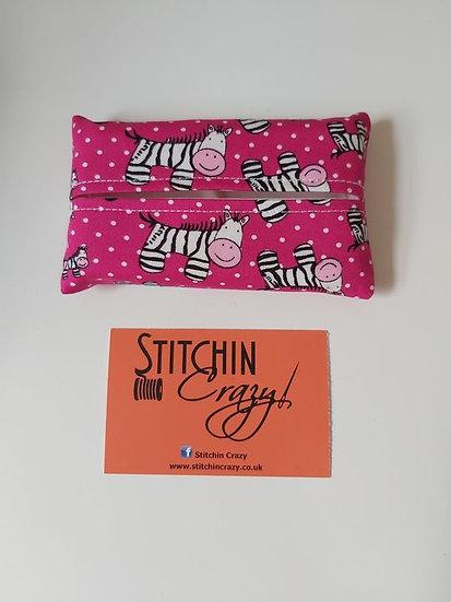 Pink Zebra Tissue Pouch