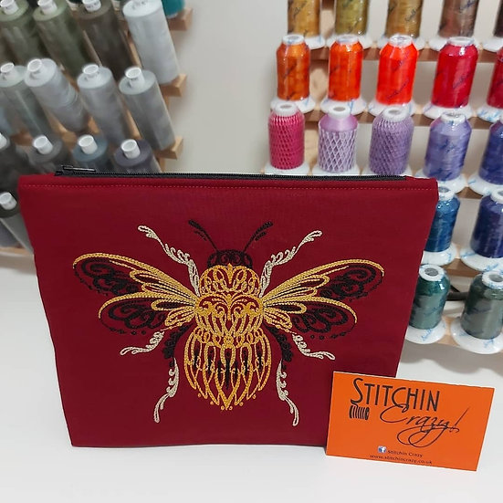 Embroidered Bee Make Up Bag