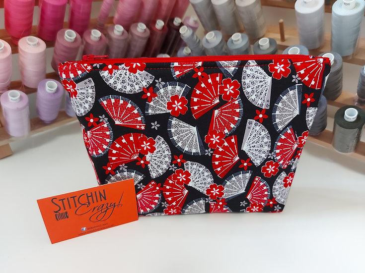 Red Fan Print Make Up Bag