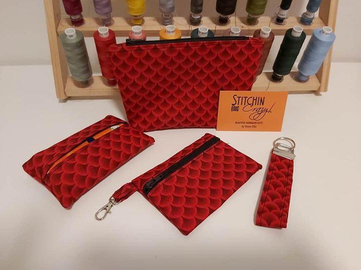 Red Black 4 Piece Handbag Accessory Set