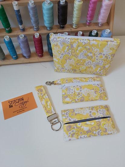4 Piece Handbag Accessory Set (Yellow Pattern)