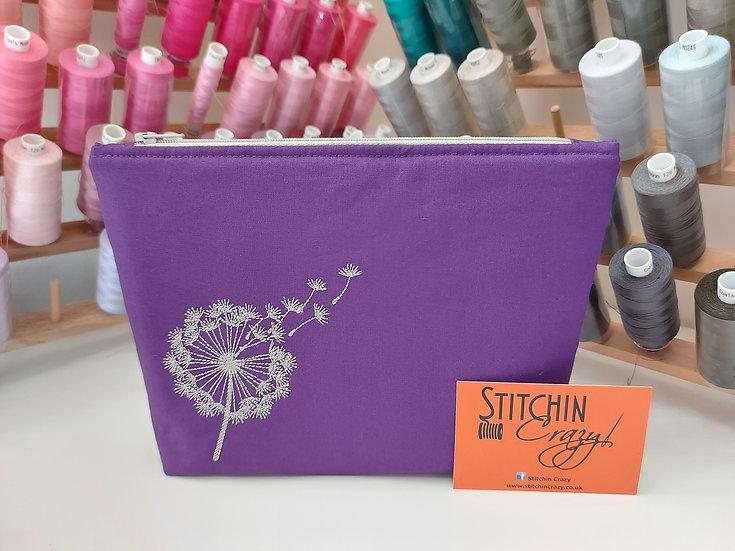 Purple Dandelion Dock Make Up Bag