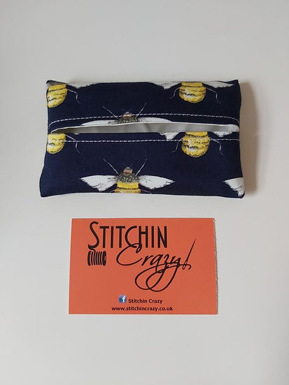 Navy Bees Tissue Pouch