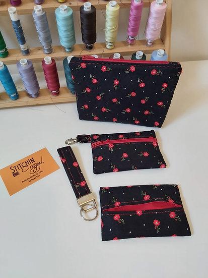 4 Piece Handbag Accessory Set (Red Poppy)