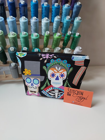 Day of the dead print make up bag