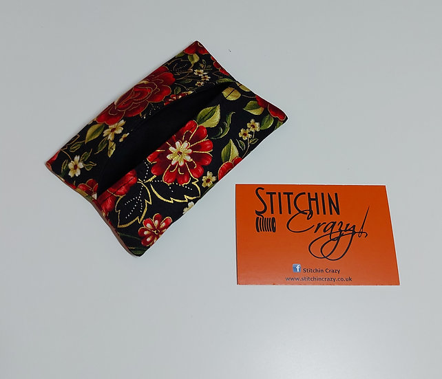 Red Floral Tissue Pouch