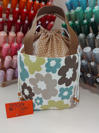 Retro Floral Large Lunch Bag