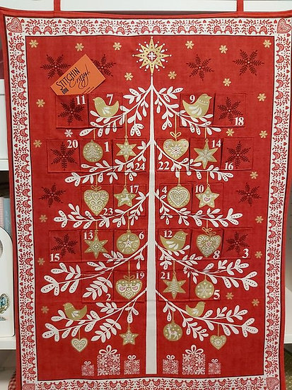 Red and Gold Christmas Tree Advent Calendar