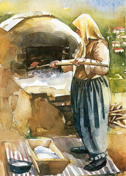 Bread baking in the village