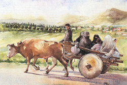 Ox-cart and family