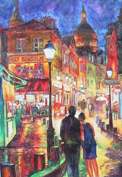 Montmartre street at night