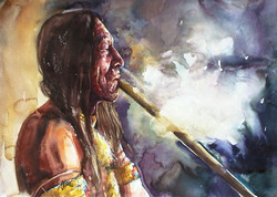 Indian with peace pipe
