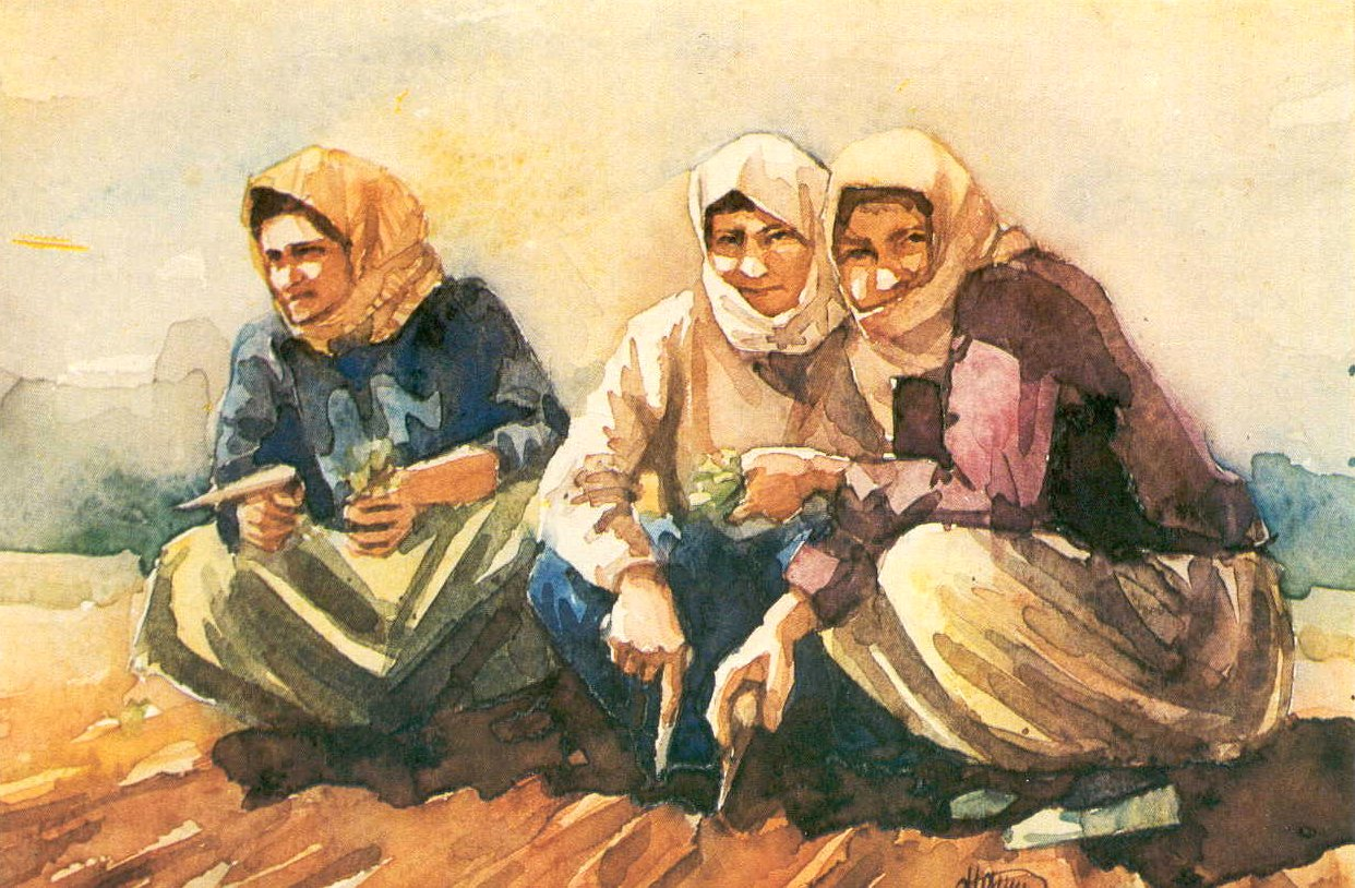 Three women at the tobacco field