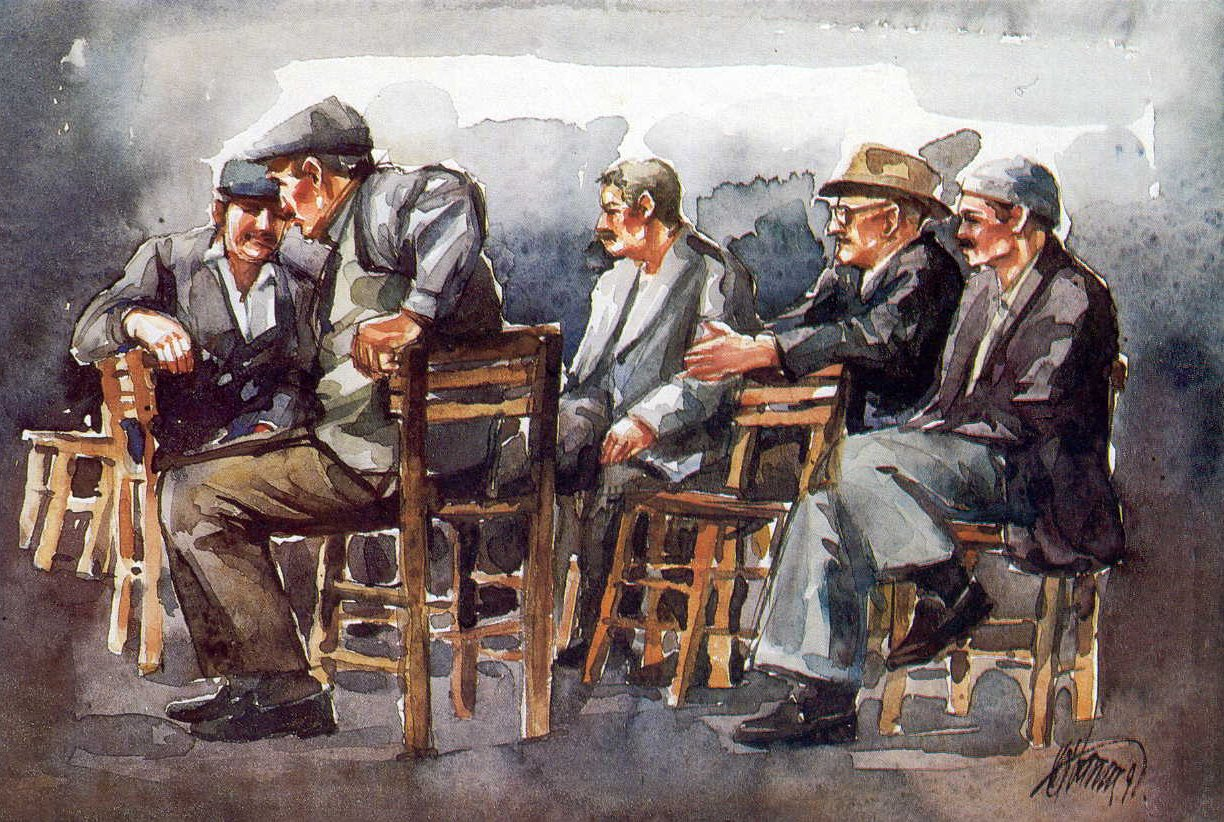Men in the coffee house