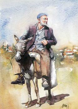 Old man on the donkey