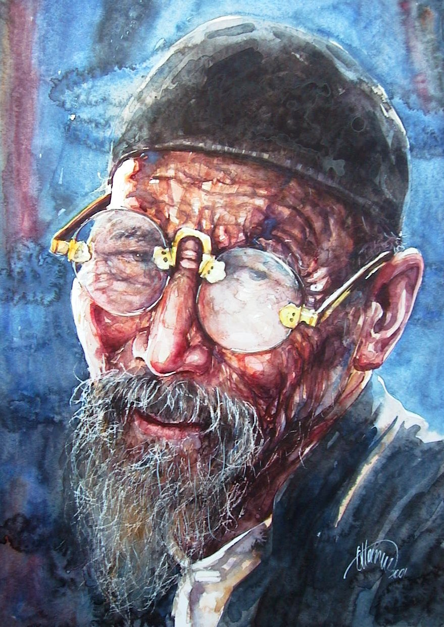 Chinese old man with eyeglass