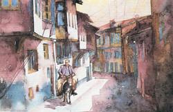 A man riding donkey in Kutahya