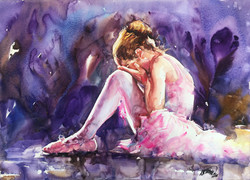 Atanur Dogan               Sad Balerina Girl    50x70 cm Watercolor