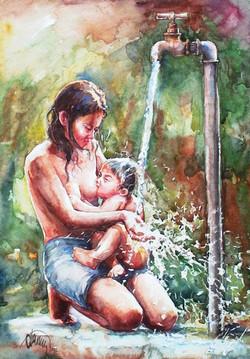 washing and feeding