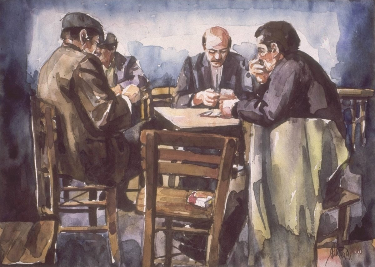 Three men playing card