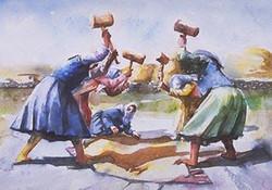 Women making bulgur